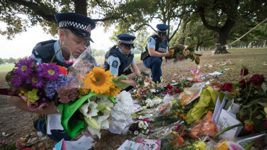 Police at the memorial to the victims of the Al Noor Mosque shooting.