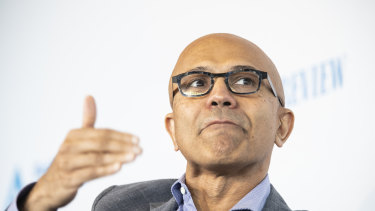 Microsoft boss Satya Nadella at The Australian Financial Review's Chanticleer Lunch on Wednesday.