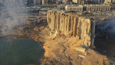 Destroyed grain silos amid the rubble and debris left by a massive explosion in the seaport of Beirut.