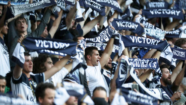 True Blues: Melbourne Victory fans out in support at AAMI Park on Friday night.