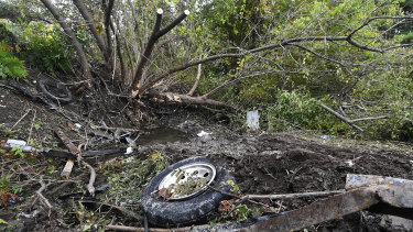 Debris from the accident is visible at the scene of the accident in Schoharie, NY.