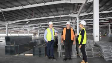 From left, general manager of Goodman Australia, Jason Little, Amazon director of operations, Craig Fuller, and Goodman director of operations, Stephanie Partridge.