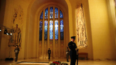 The catafalque party mounted at the Tomb of the Unknown Australian Solider during the Anzac Day commemorative service at the Australian War Memorial in Canberra.