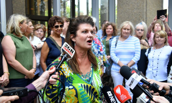 Julie Davis, speaking outside court.