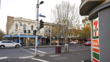 The intersection of Lygon and Grattan streets, near where the men found the woman.
