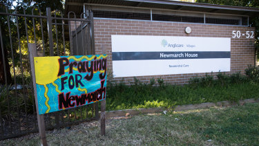 Only two infected residents at Anglicare's Newmarch House went to hospital.