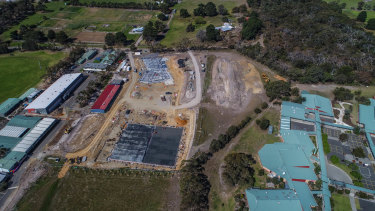 Construction near Bellarine Secondary College's Drysdale campus (right) as part of the neighboring St Ignatius Catholic College expansion.