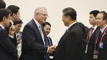 Testing times: Prime Minister Scott Morrison and China's President Xi Jinping.