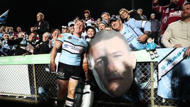 Farewell: Sharks captain Paul Gallen acknowledges fans at Lottoland.