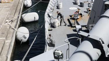 On board HMAS Parramatta.
