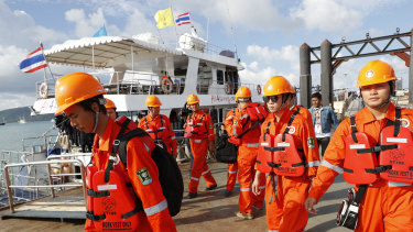 A Chinese rescue team arrive at Chalong pier in Phuket.