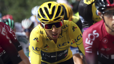Colombia's Egan Bernal wearing the overall leader's yellow jersey.