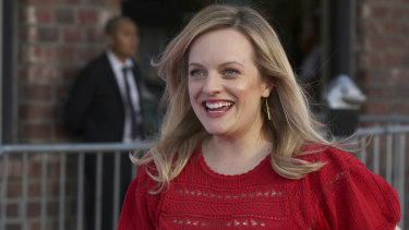 Elisabeth Moss at The Handmaid's Tale season finale red carpet in Los Angeles.