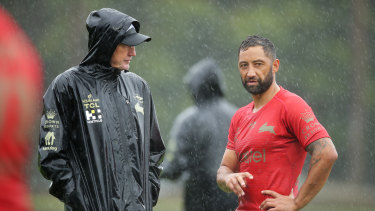 Wayne Bennett with former Tigers player Benji Marshall during South Sydney training earlier in the year. Bennett is renowned for his close relationship with his players.