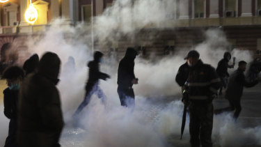 Tear gas was used against the protesters outside the Prime Minister's office in Tirana, Albania.