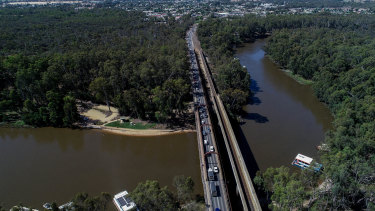 The Echuca-Moama bridge. After decades of campaigning, a second bridge is under construction.