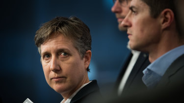 ACTU secretary Sally McManus fronts the media after a meeting with Mr Setka.