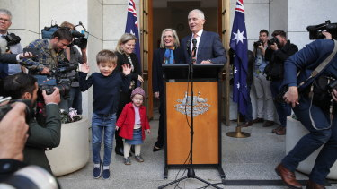Outgoing prime minister Malcolm Turnbull with his family on Friday.