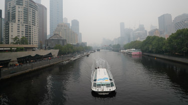 The Yarra River on Monday, with air quality 'very poor' across most of Melbourne.