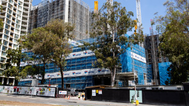 Construction taking place in Macquarie Park, a precinct that has gone through significant rezoning.