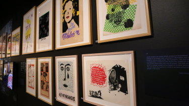 Some of the colourful screen-printed posters in the exhibition.