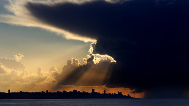 A cloud is shown at sunset over Beirut, Lebanon.