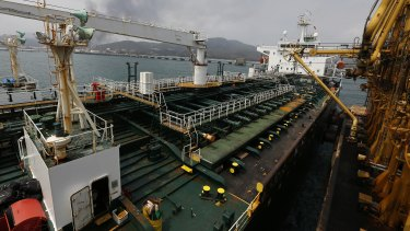 Iranian oil tanker Fortune is anchored at the dock of the El Palito refinery near Puerto Cabello, Venezuela.