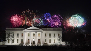 Fireworks are displayed over the White House as part of Inauguration Day ceremonies.
