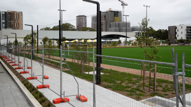 The centre includes a synthetic sports field next to an outdoor 50-metre pool.