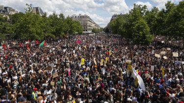 Thousands of anti-racism protesters in Paris on Saturday, June 13.