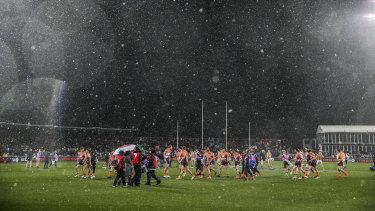 Snow falls on Manuka Oval.