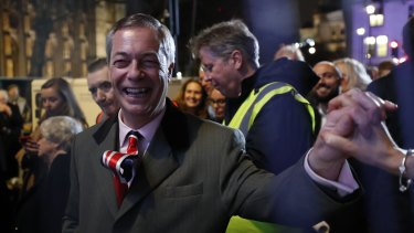 Brexit Party leader Nigel Farage was swamped at the rally.