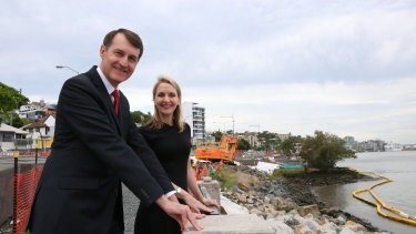 Lord mayor Graham Quirk and councillor Amanda Cooper at Kingsford Smith Drive in December.