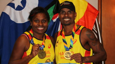 Elsie Seriat and Harold Matthew, both from Thursday Island, are part of the Indigenous Marathon Project. They ran the New york marathon in 2014.