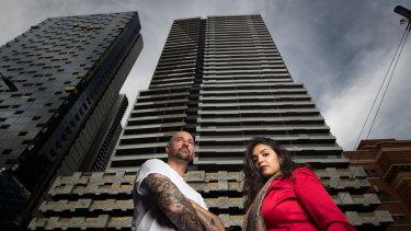 Neo200 tenants Dion Aleksovski and Nisha Mehrotra outside the fire-affected tower.