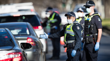 Police doing stop checks in Melbourne on Friday.