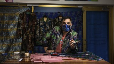 Artisan tie and bow tie maker Nicholas Atgemis has been making face masks during the pandemic.