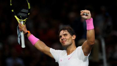 Rafael Nadal has stormed into the Paris Masters semi-finals.