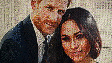 An image made from Lego depicting Prince Harry and Meghan, the Duchess of Sussex, by the train station in Windsor, England.