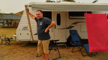 Garry Maddison from Malua Bay with his caravan on Thursday.