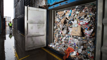 A container filled with waste processed by SKM recycling, at Tasman Logistics' Brooklyn headquarters.