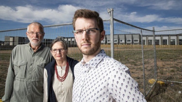 Coombs residents John and Alison Hutchison, and Ryan Hemsley were angered by the original development proposal, and are waiting to see the next. Photo: Sitthixay Ditthavong