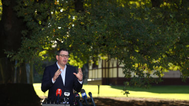 Daniel Andrews speaks at a press conference this morning.
