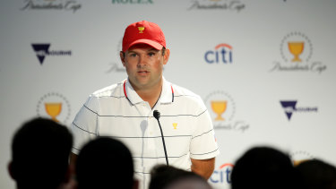 Patrick Reed addresses media after a practice round at Royal Melbourne on Tuesday morning.