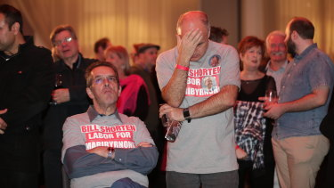 Labor supporters can't hide their disappointment as results come in on Saturday night.