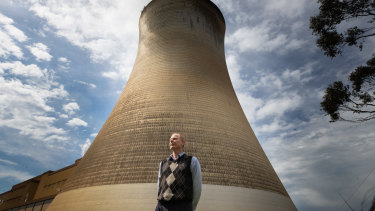 Latrobe Valley GP Malcolm McKelvie at Yallourn power station. He is concerned about climate change and the effect of coal pollution on his patients.