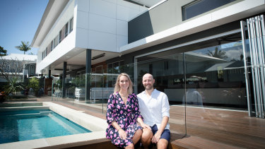 Louise Lally, with husband Ben, said her Byron Bay property was at 90 per cent occupancy this month - compared to 54 per cent for the same time last year.