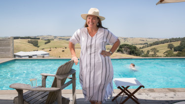 Carolyn Creswell at her farm in Gippsland where she is staying with her family.
