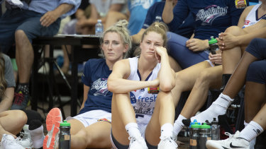 Adelaide Lightning players after the third WNBL grand final.