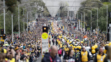 The way we were. The grand final parade in 2019, in Melbourne.